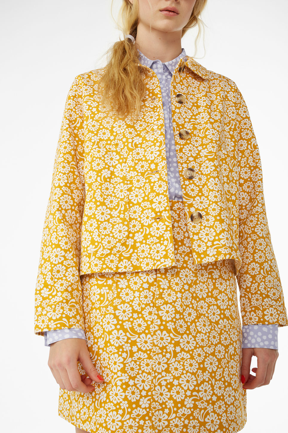 Model side image of Monki boxy utility jacket in yellow