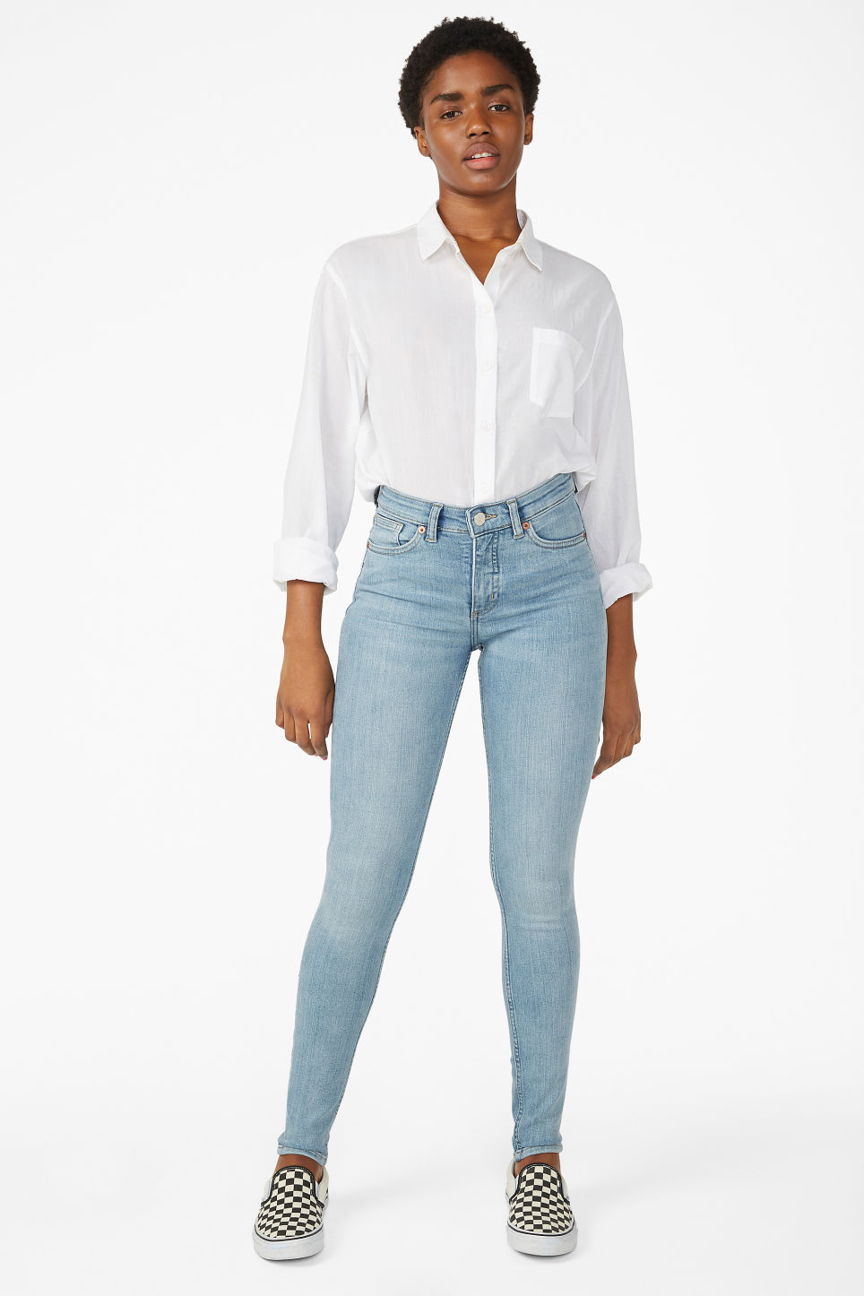 Model front image of Monki mocki washed out jeans in blue