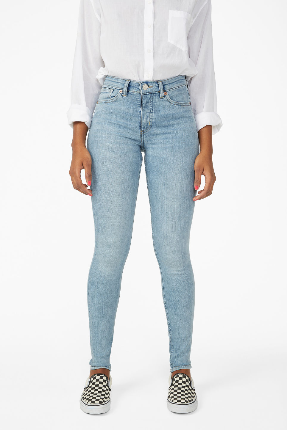 Model side image of Monki mocki washed out jeans in blue