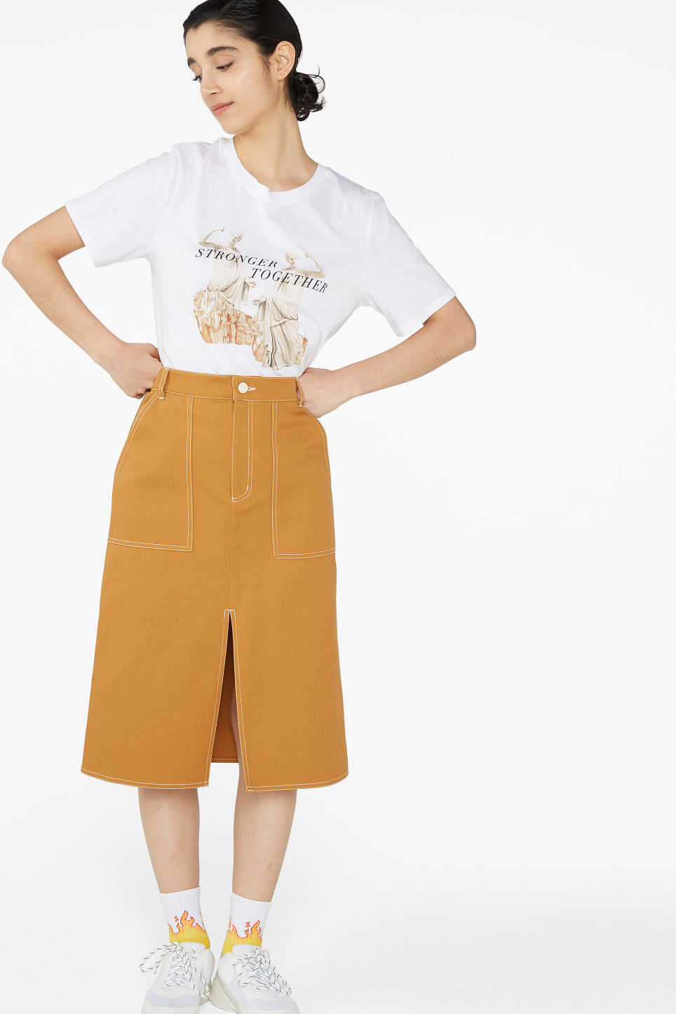 Model front image of Monki utility midi skirt in yellow