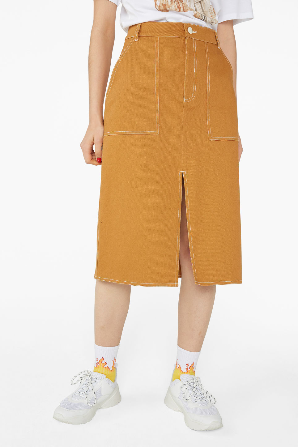 Model side image of Monki utility midi skirt in yellow