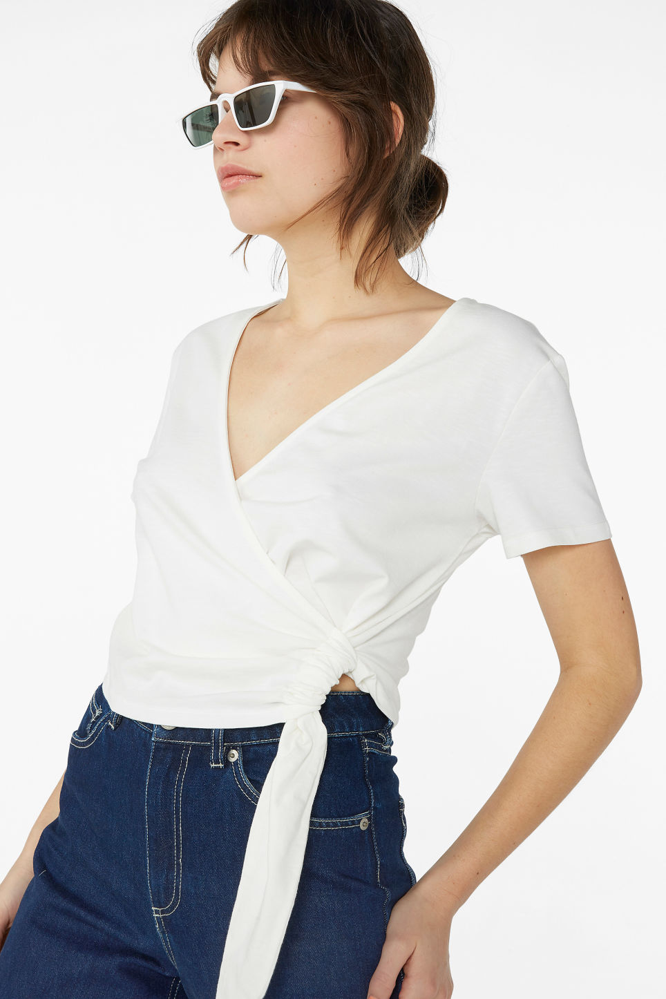 Model front image of Monki wrap top in white