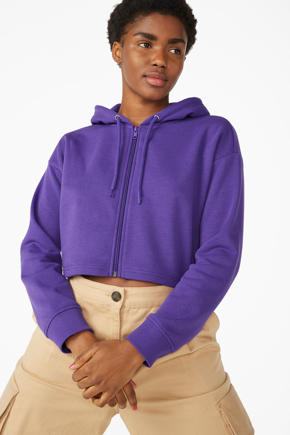 Model front image of Monki cropped zip-up hoodie in purple
