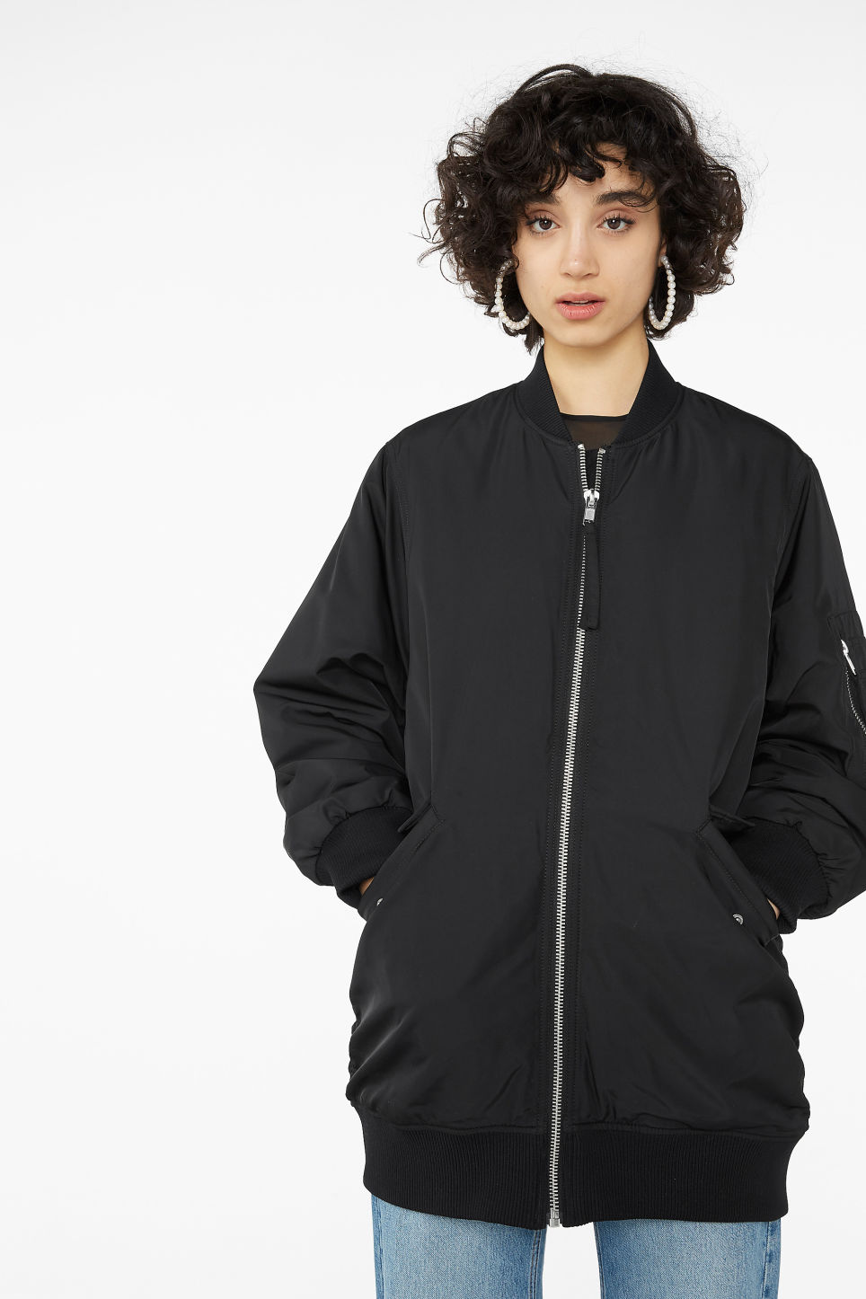 Model front image of Monki oversized bomber jacket in black