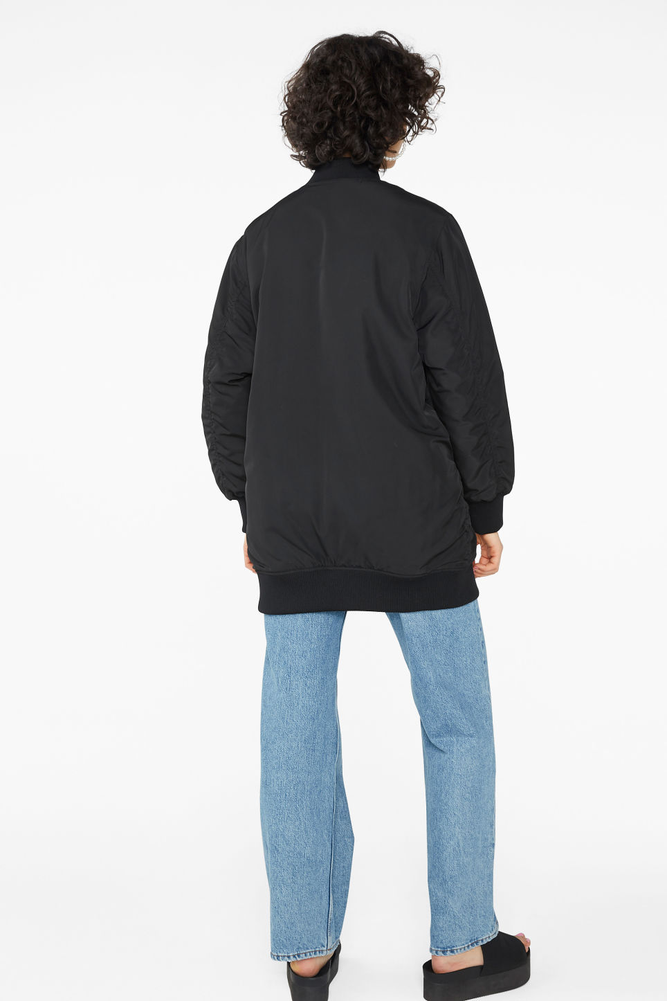 Model back image of Monki oversized bomber jacket in black
