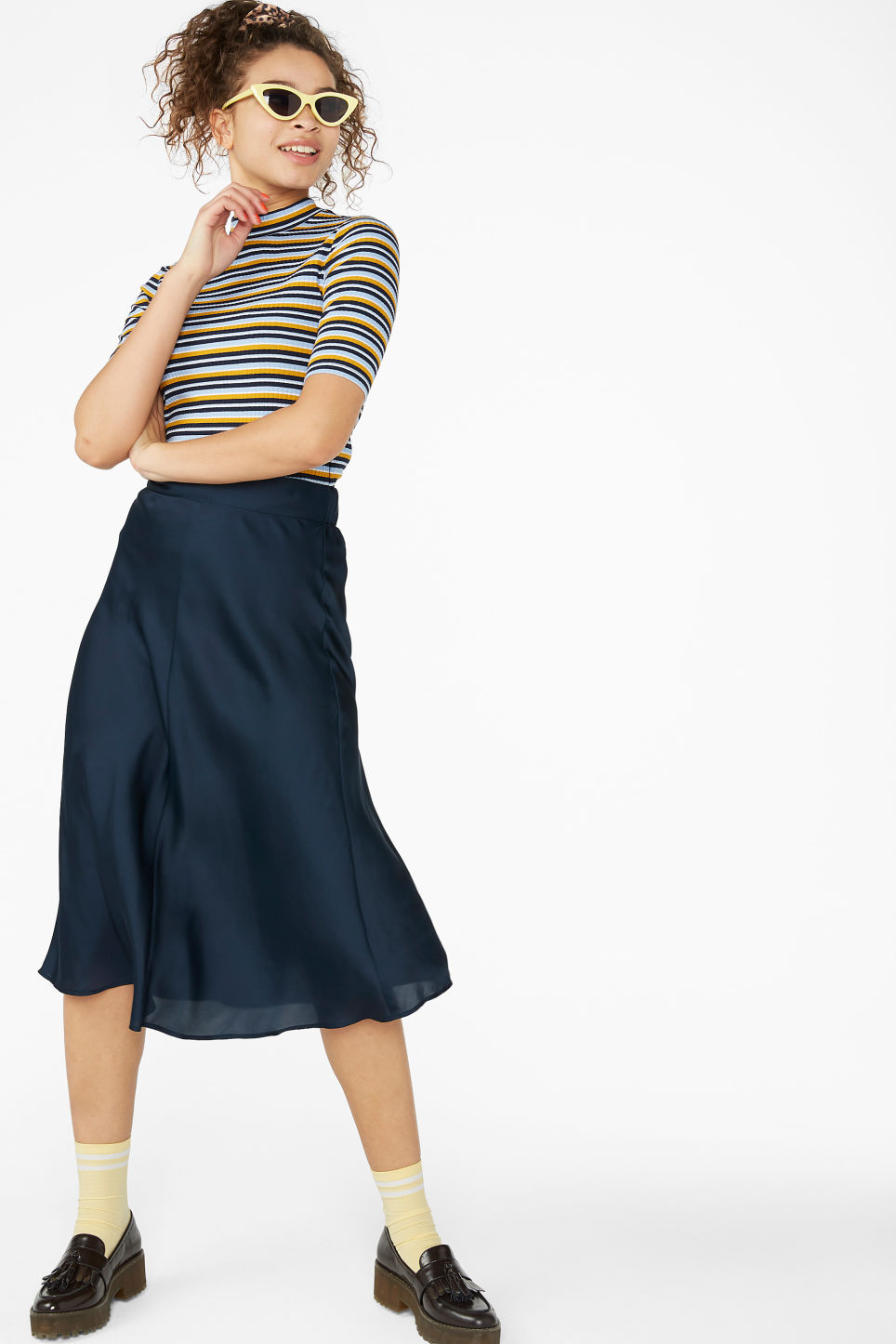 Model front image of Monki silky midi skirt in blue