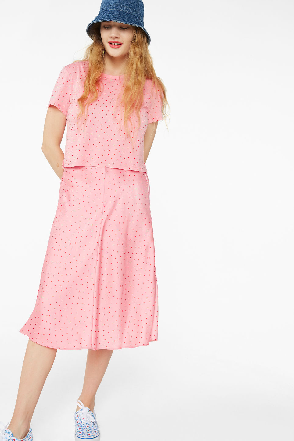 Model front image of Monki silky midi skirt in pink