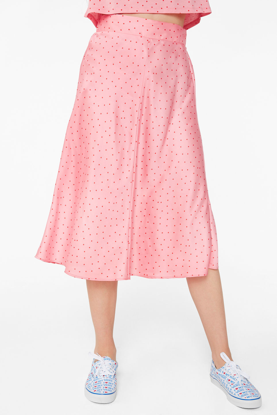 Model side image of Monki silky midi skirt in pink