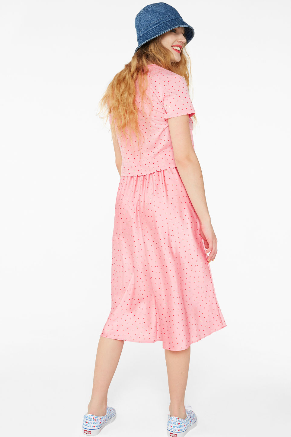 Model back image of Monki silky midi skirt in pink