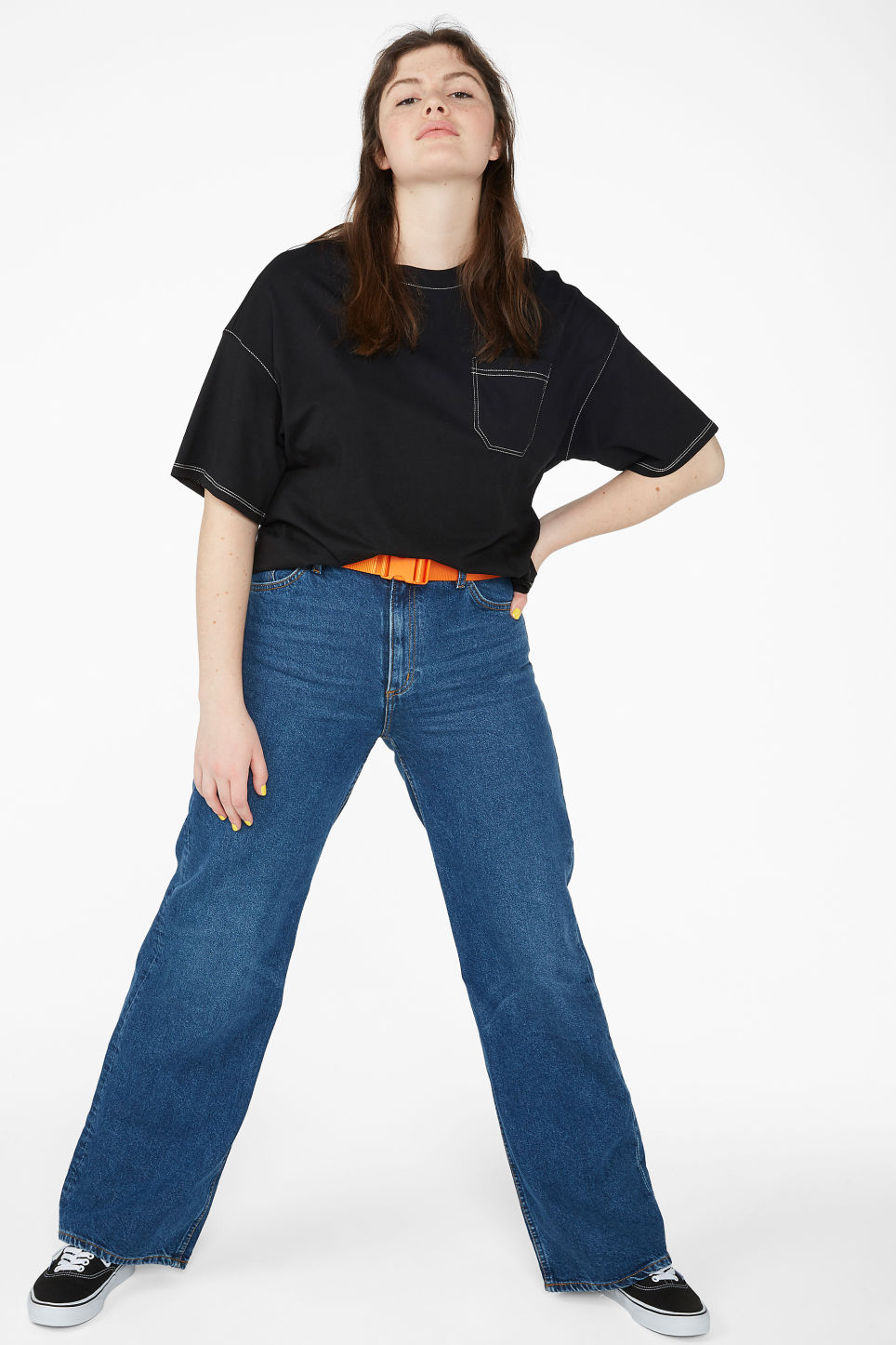 Model side image of Monki contrast stitch tee in black