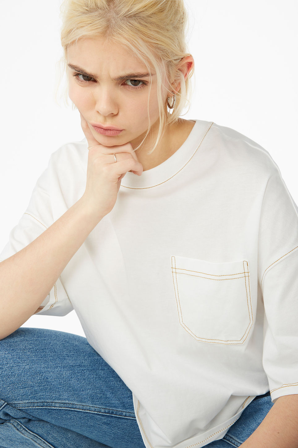 Model front image of Monki contrast stitch tee in white