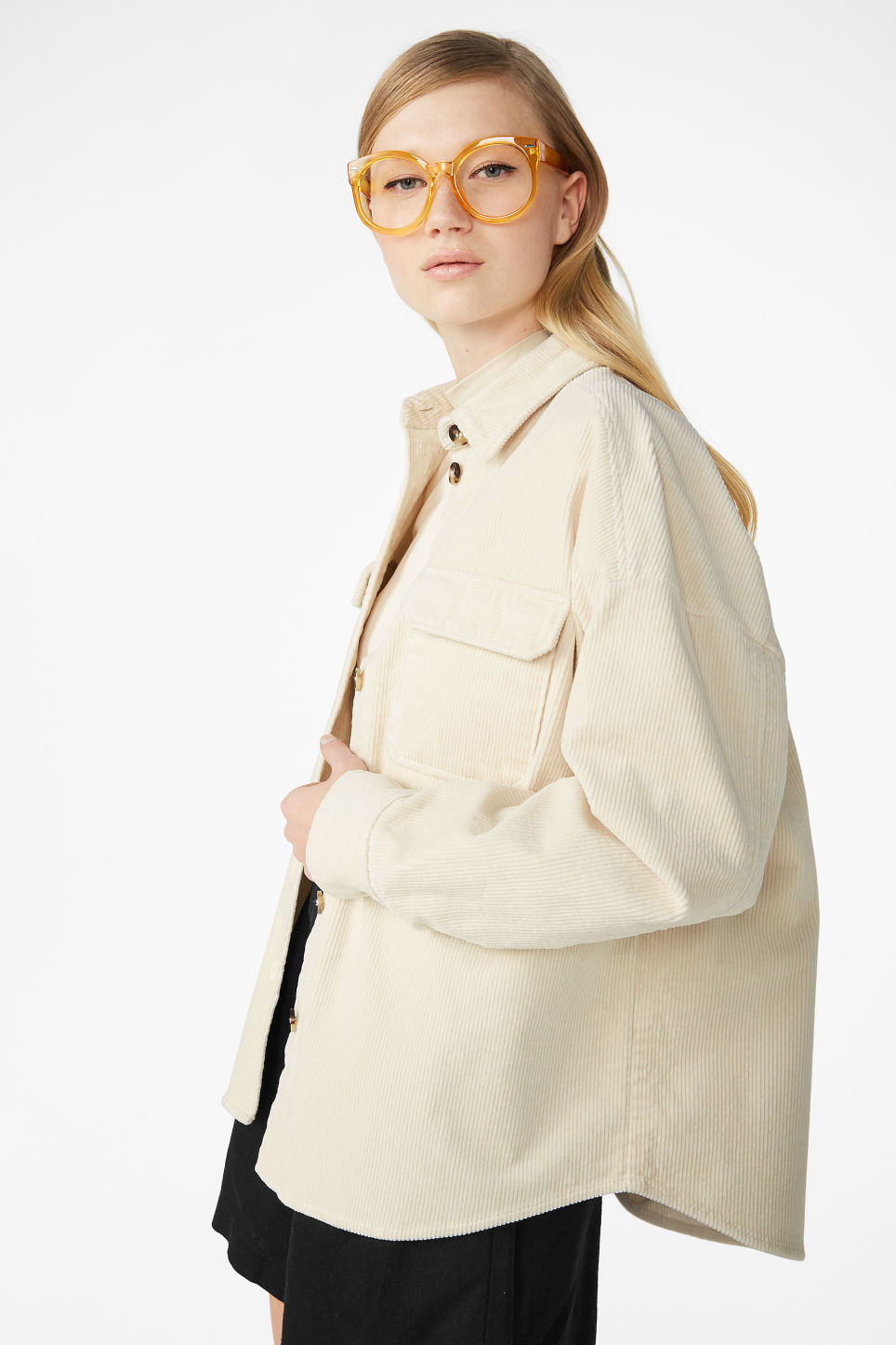 Model front image of Monki corduroy button up shirt in beige