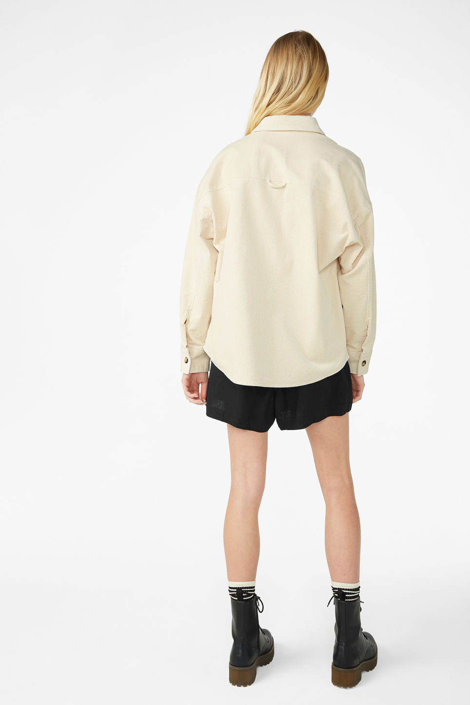 Model back image of Monki corduroy button up shirt in beige
