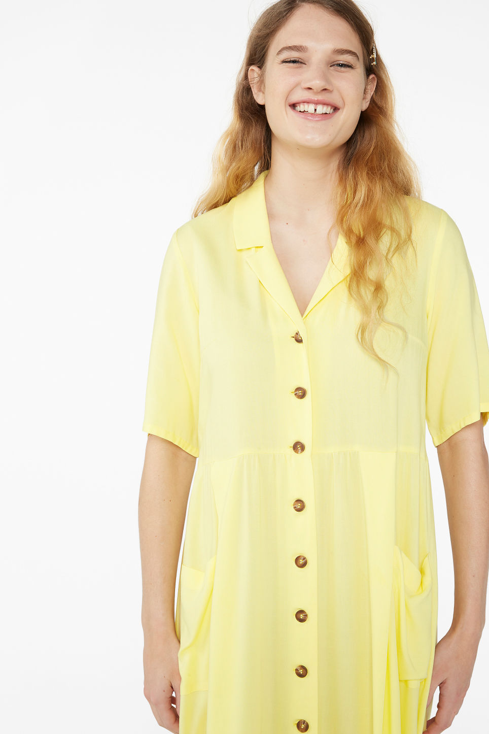 Model front image of Monki long button-up shirt dress in yellow