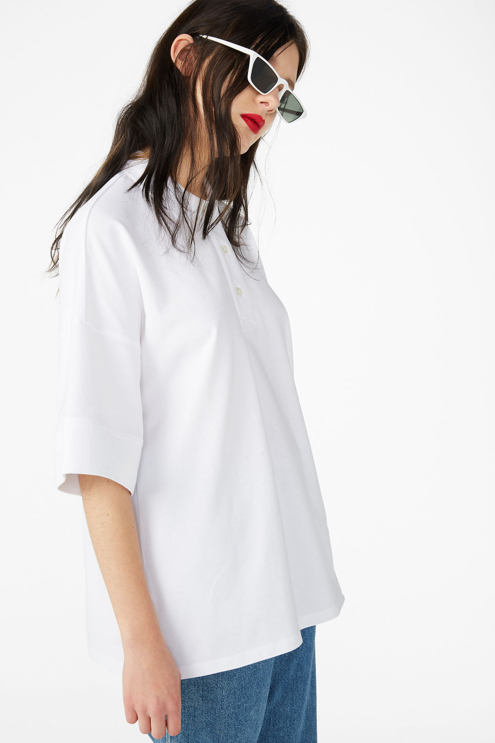 Model front image of Monki oversized polo top in white