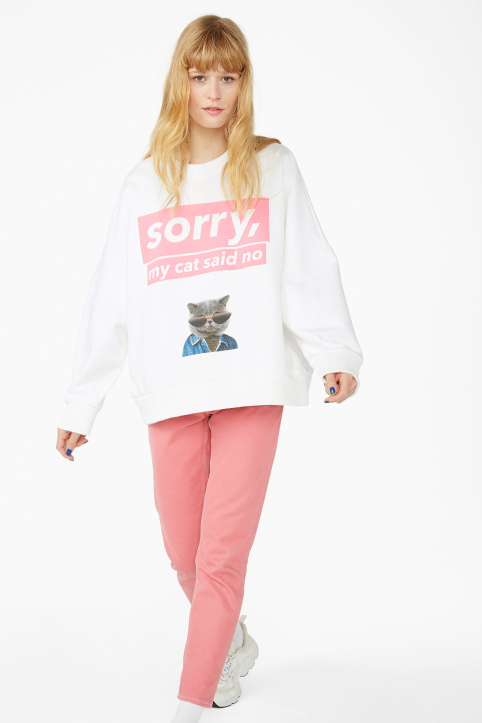 Model side image of Monki classic sweatshirt in white
