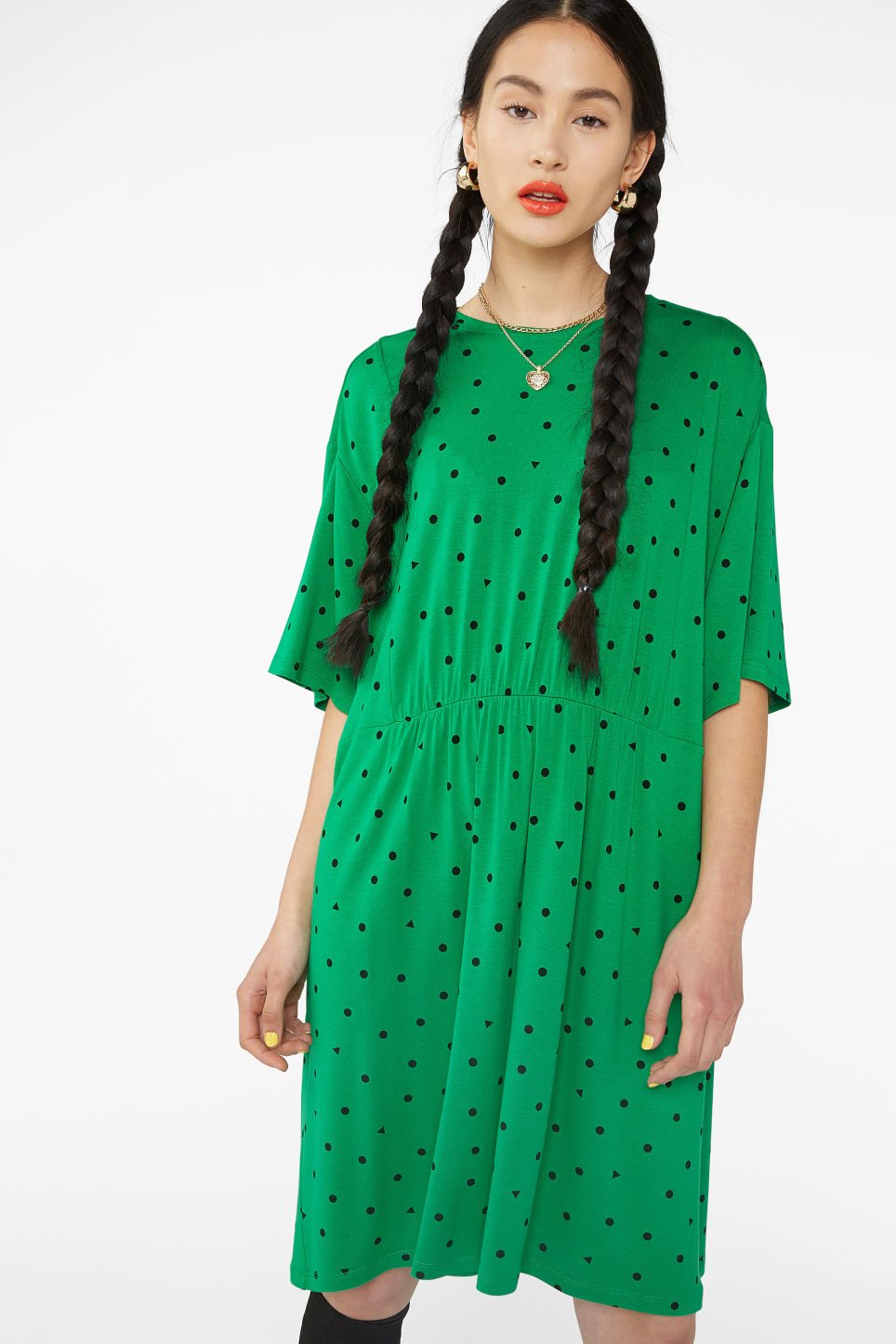 Model front image of Monki ruffled t-shirt dress in green