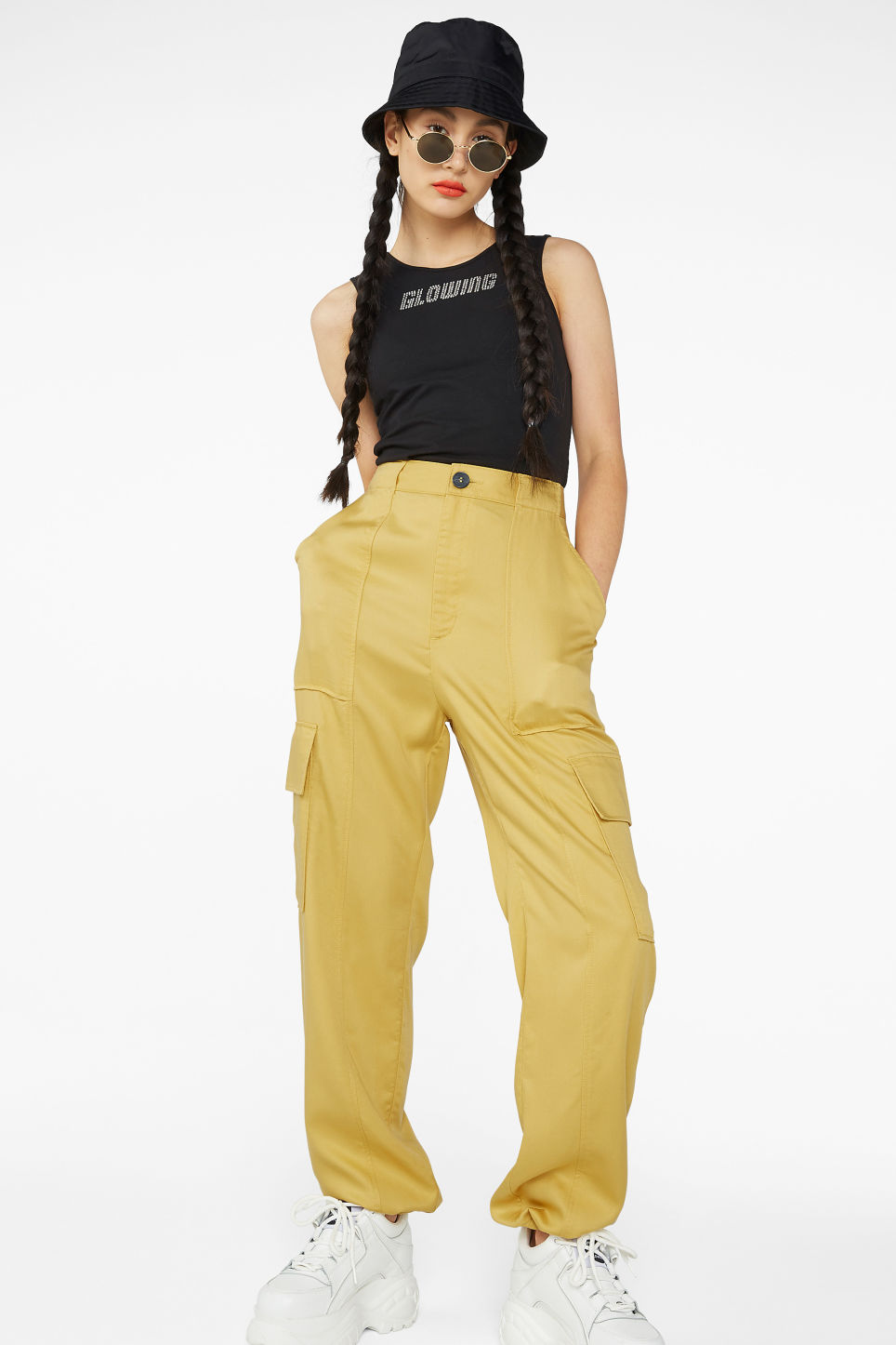 Model front image of Monki utility trousers  in yellow