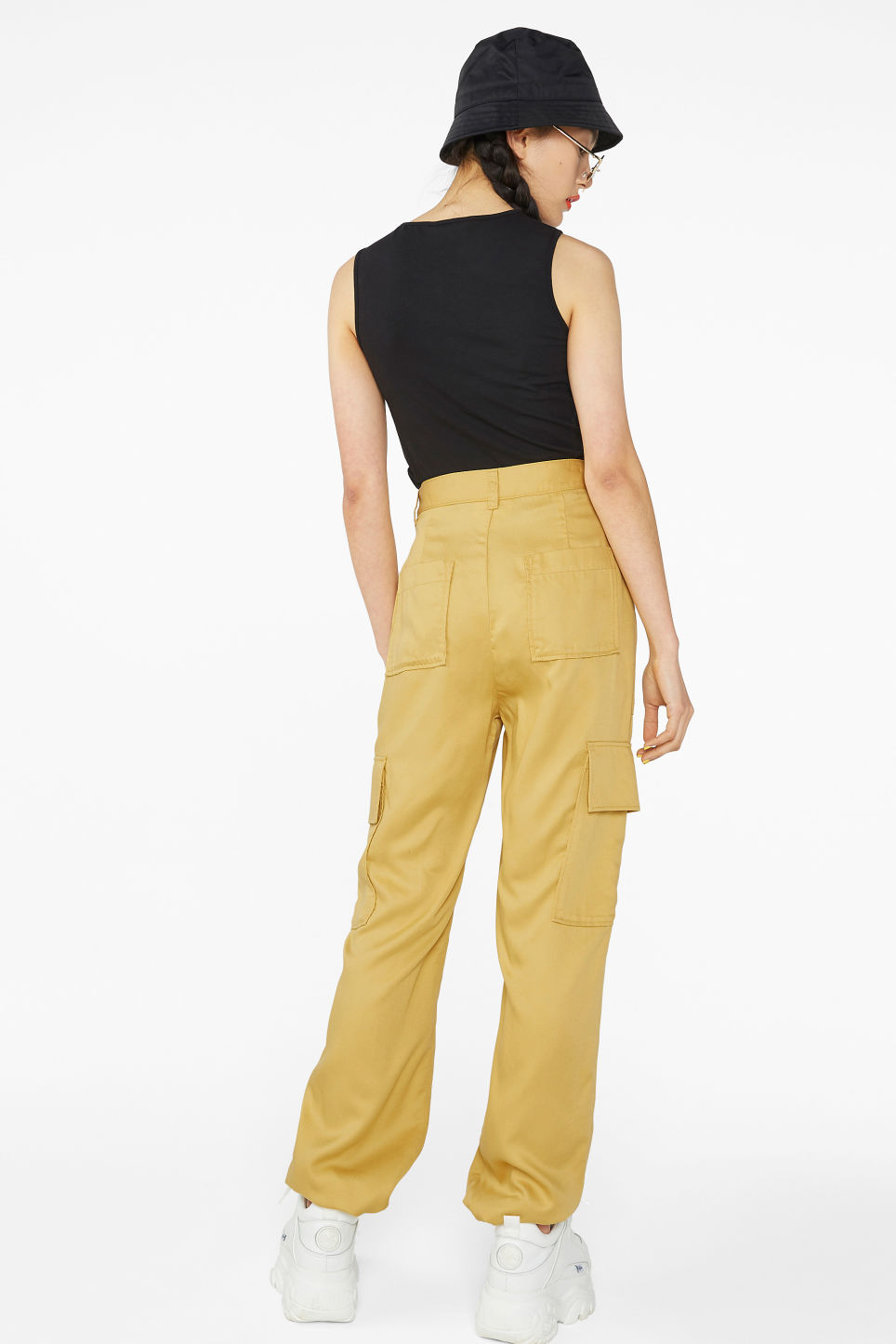 Model back image of Monki utility trousers  in yellow