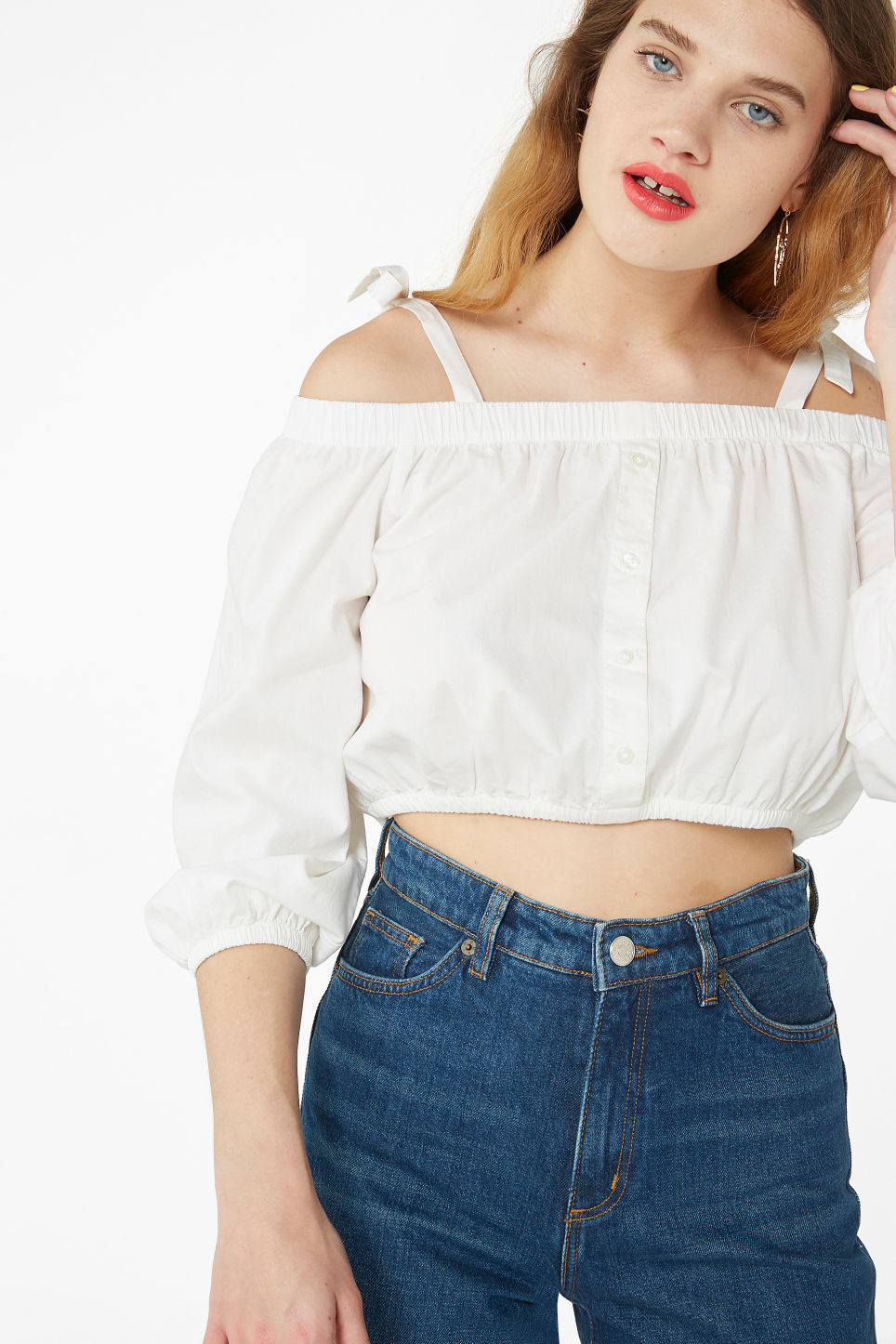 Model front image of Monki bardot top in white