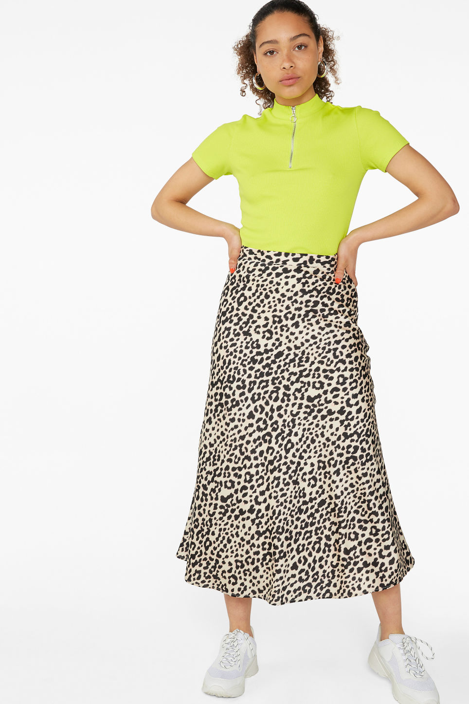 Model front image of Monki silky midi skirt in beige