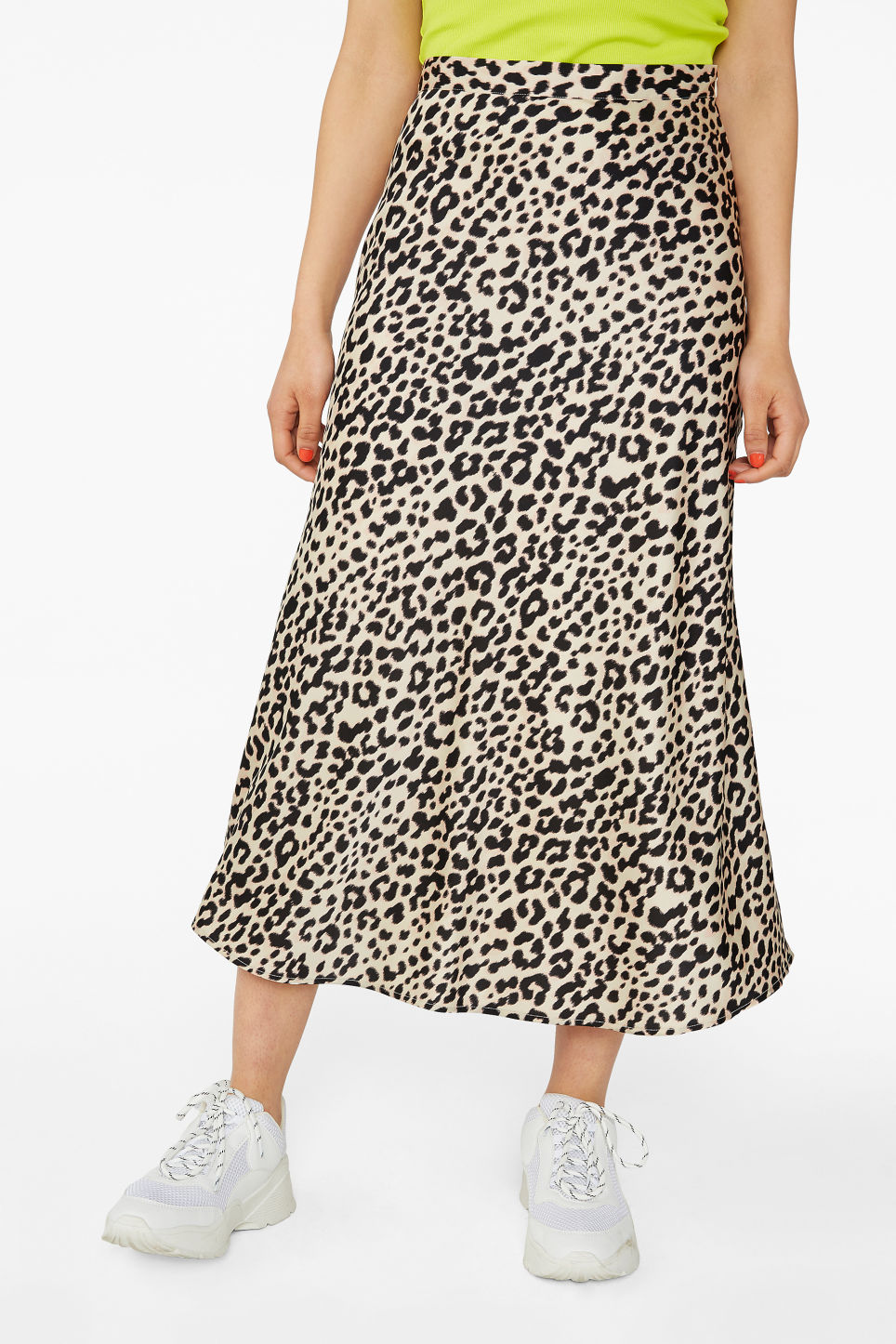 Model side image of Monki silky midi skirt in beige