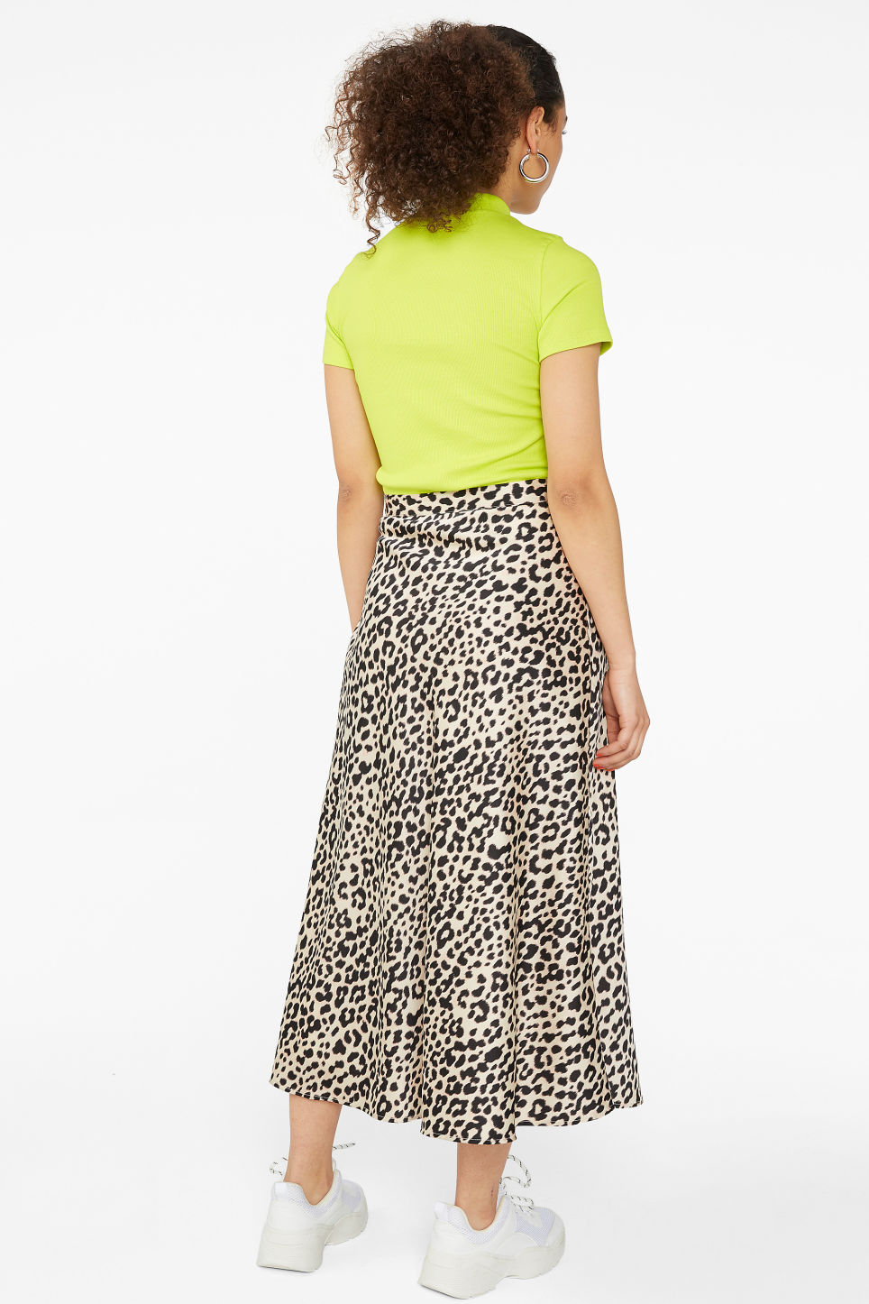 Model back image of Monki silky midi skirt in beige