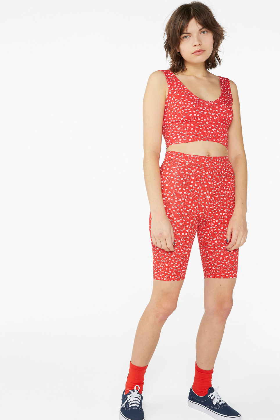 Model front image of Monki short leggings in red