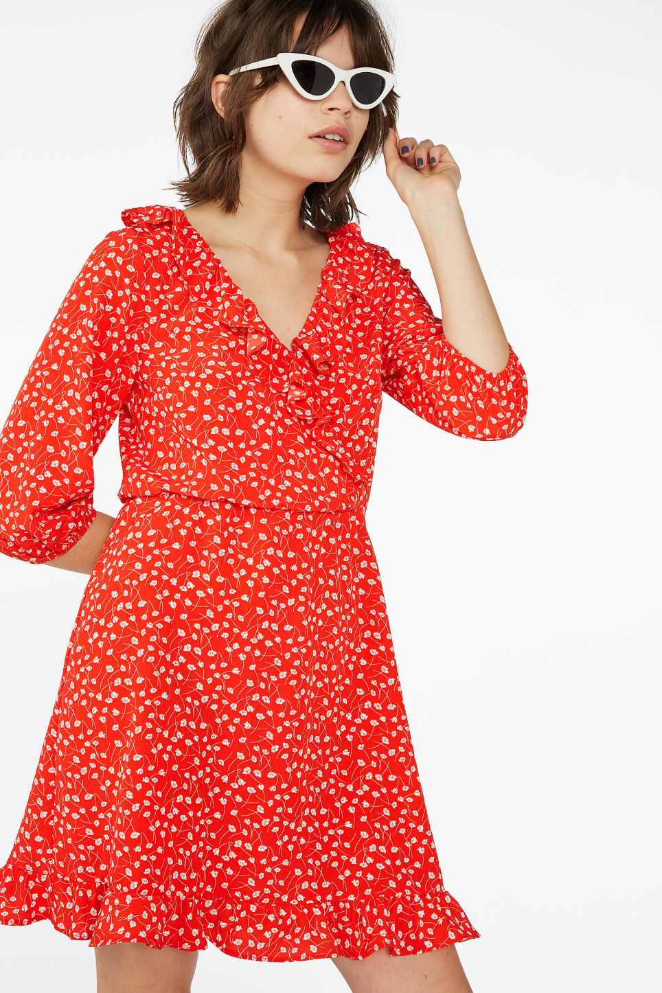 Model front image of Monki wrap dress in red
