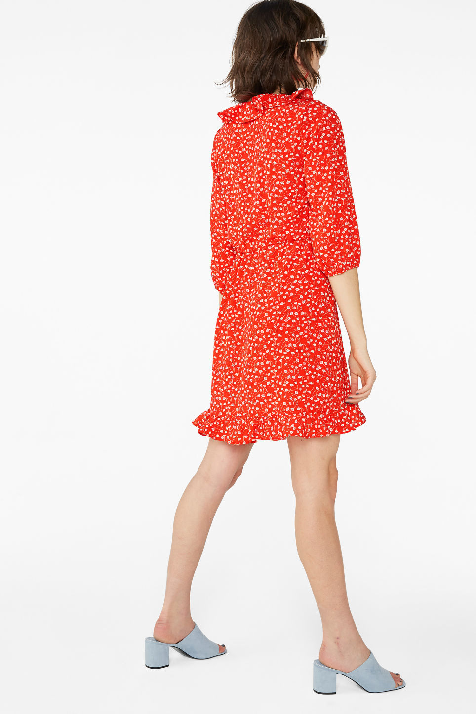 Model back image of Monki wrap dress in red
