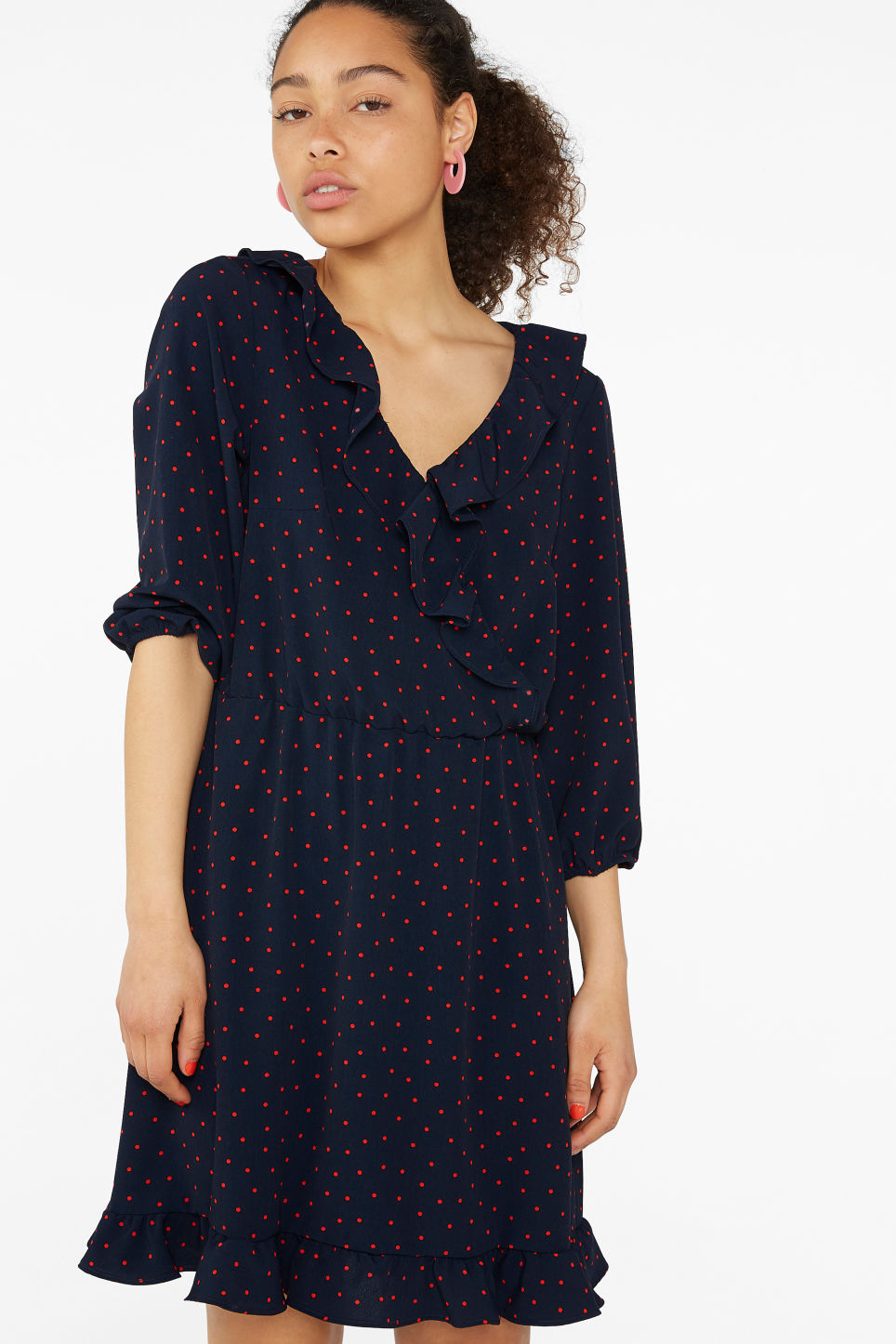 Model front image of Monki wrap dress in blue