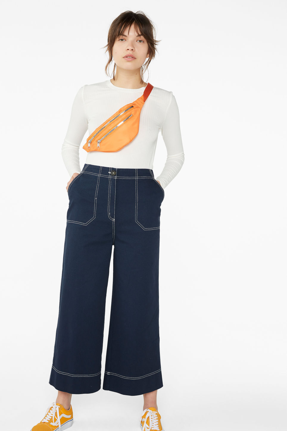 Model front image of Monki contrast stitch utility trousers in blue