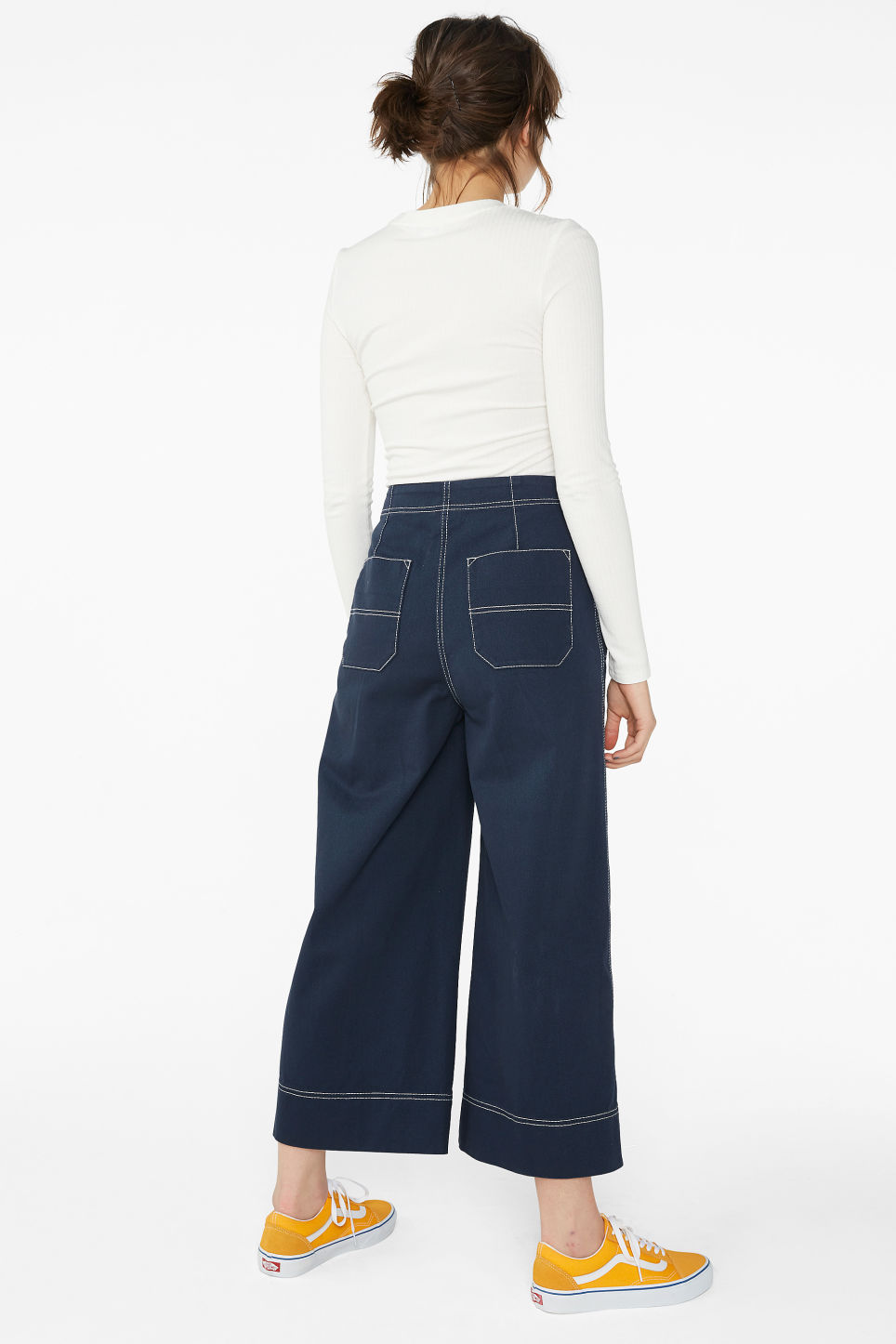 Model back image of Monki contrast stitch utility trousers in blue