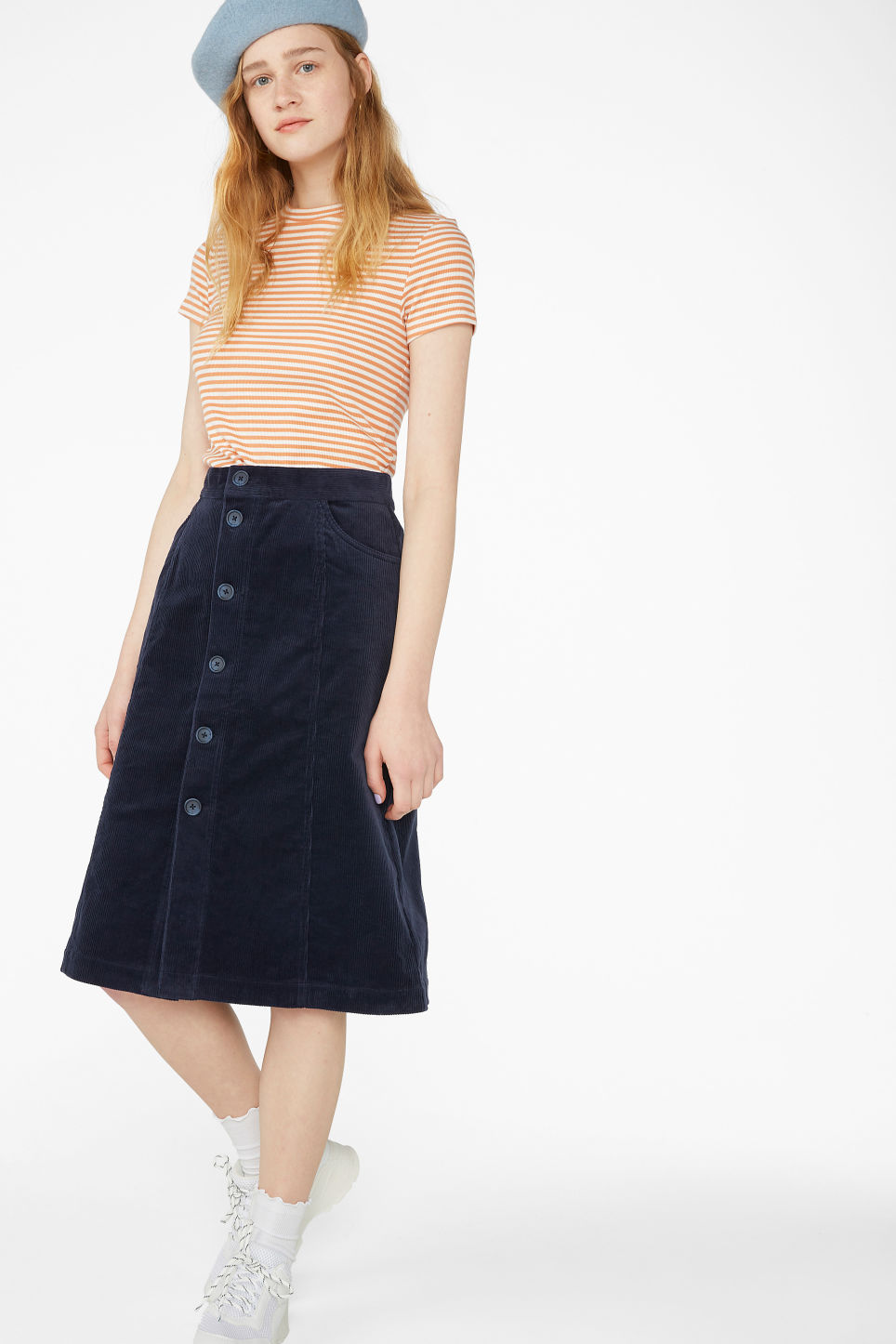 Model front image of Monki midi corduroy skirt in blue