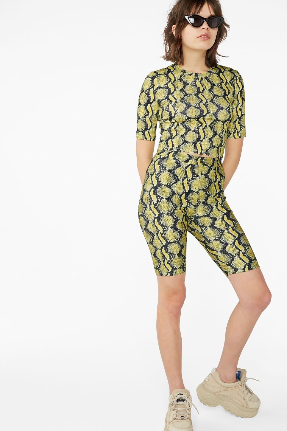 Model front image of Monki bicycle shorts  in yellow