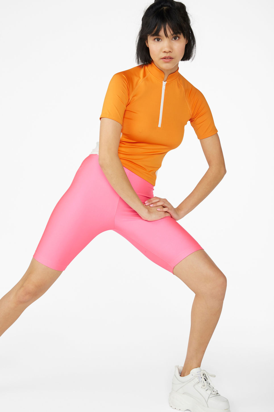 Model front image of Monki bicycle shorts  in pink
