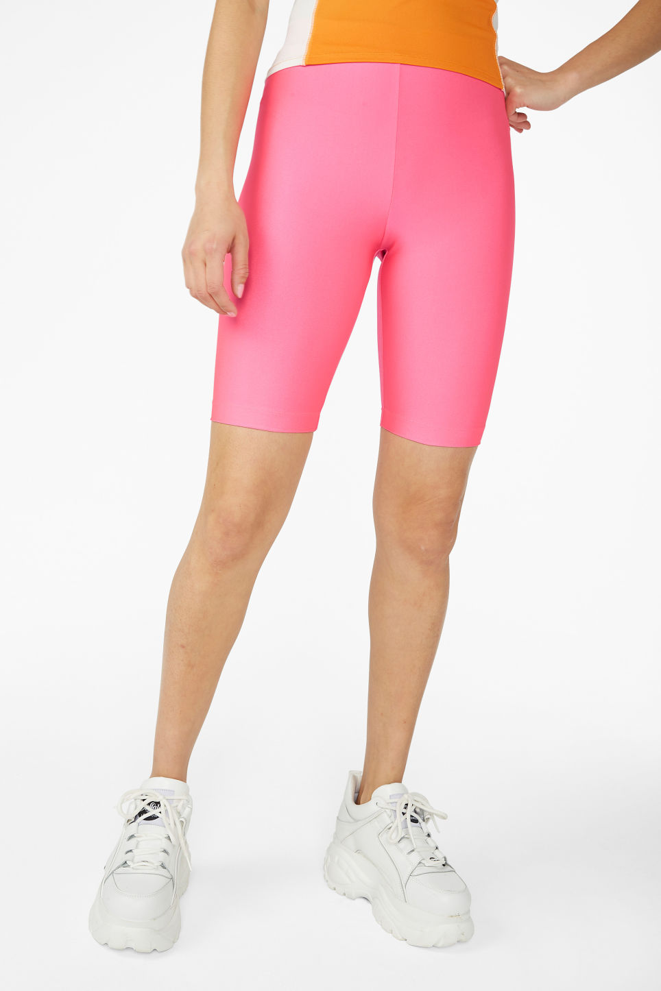 Model side image of Monki bicycle shorts  in pink