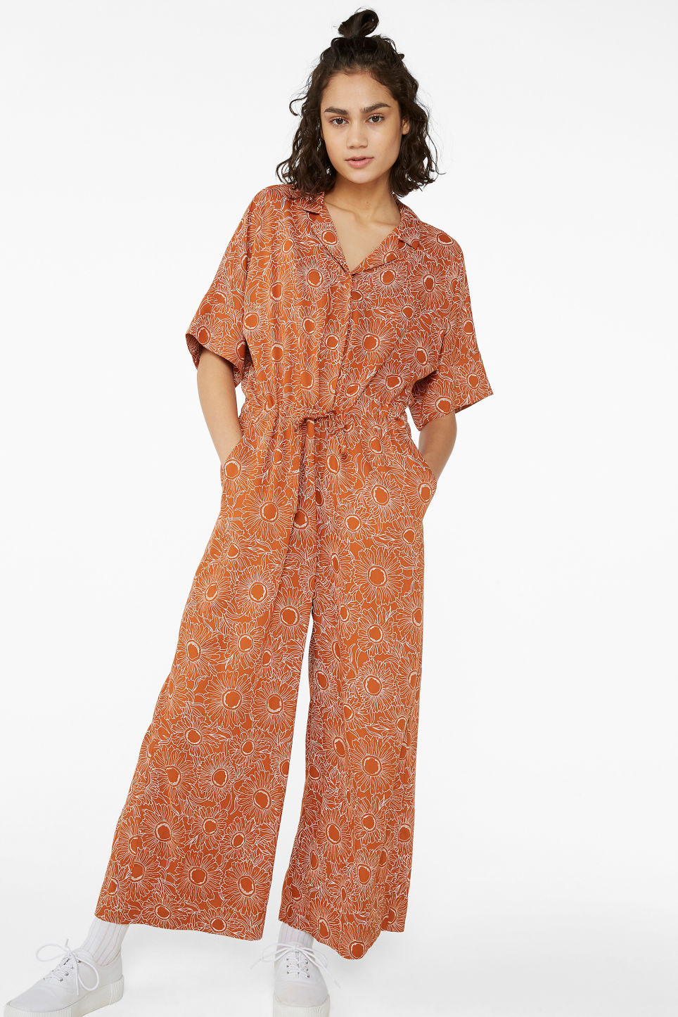 Model front image of Monki short-sleeved jumpsuit in orange