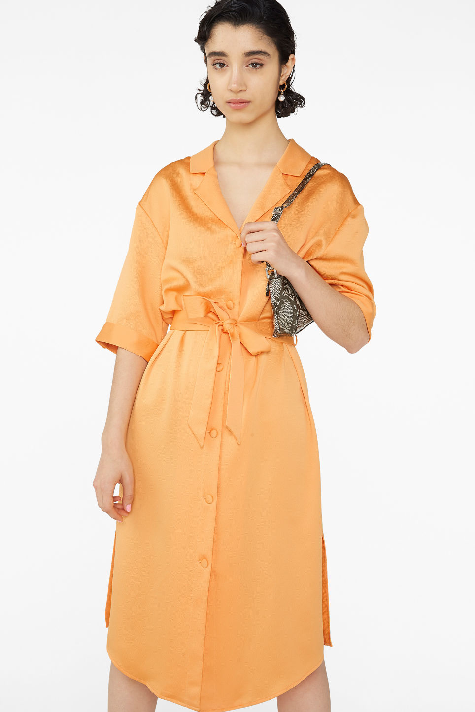 Model front image of Monki tie-waist shirt dress in orange