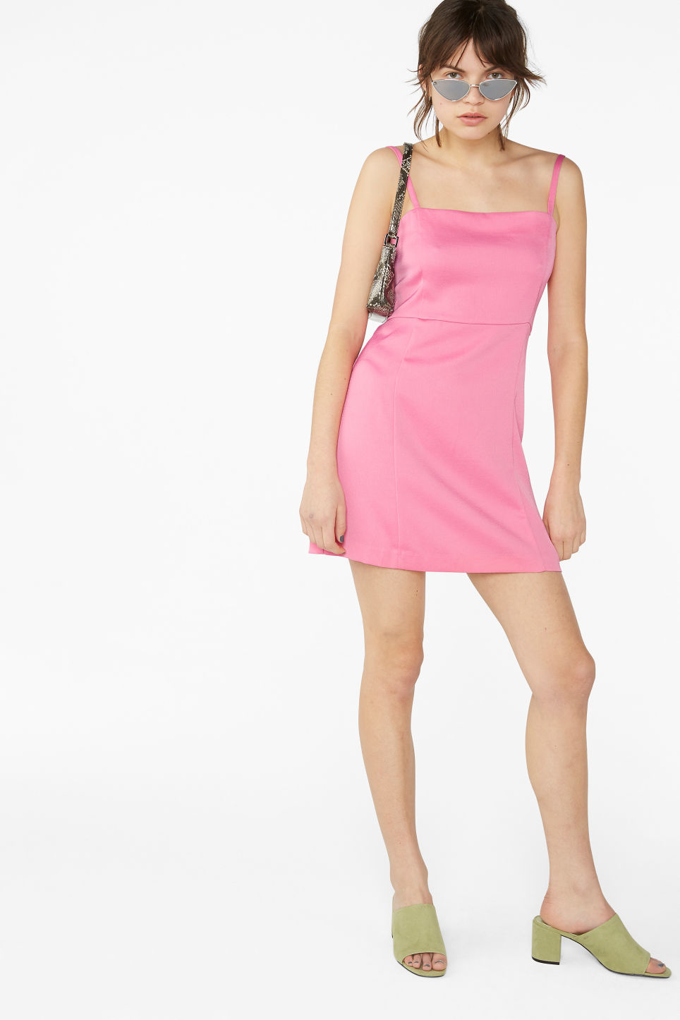 Model front image of Monki spaghetti strap dress in pink