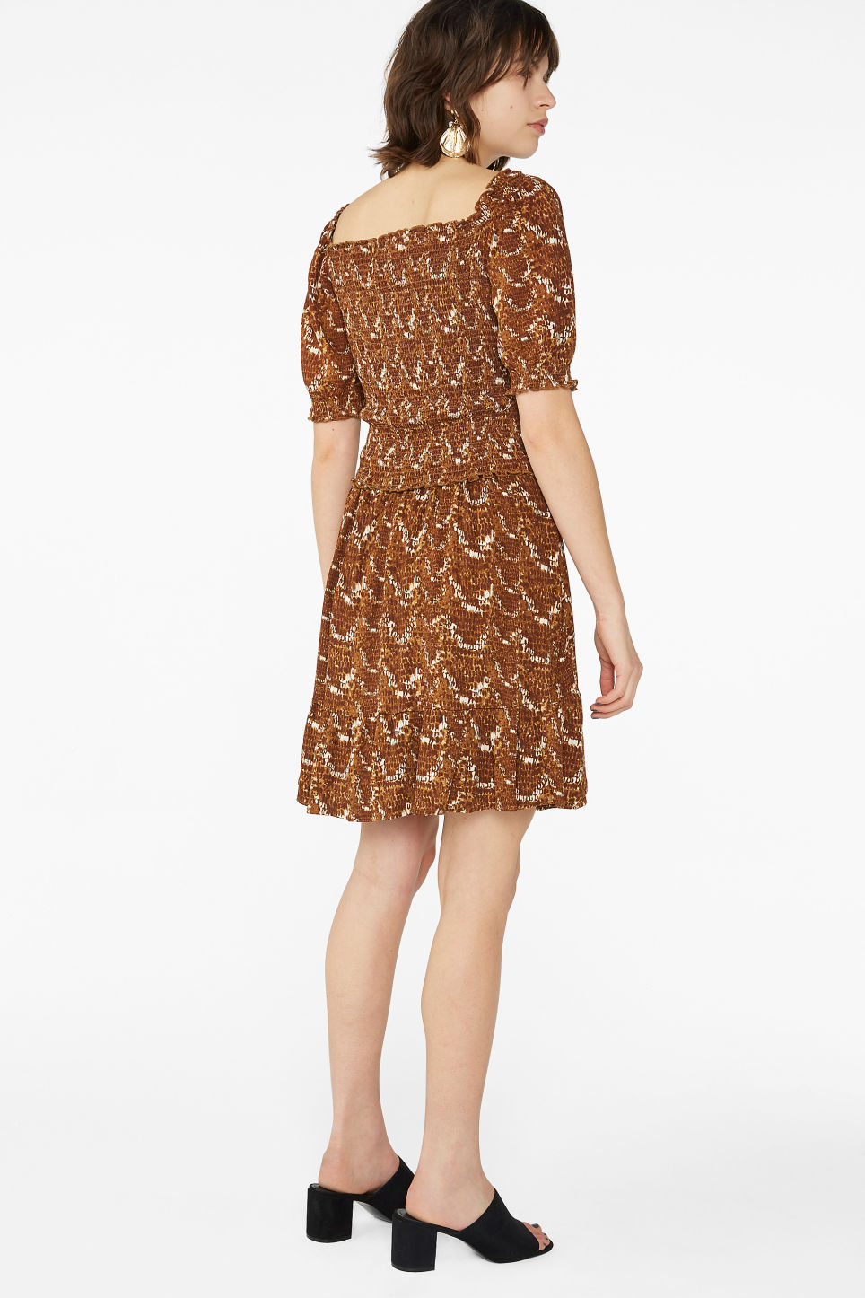 Model back image of Monki snake print ruffle skirt in yellow