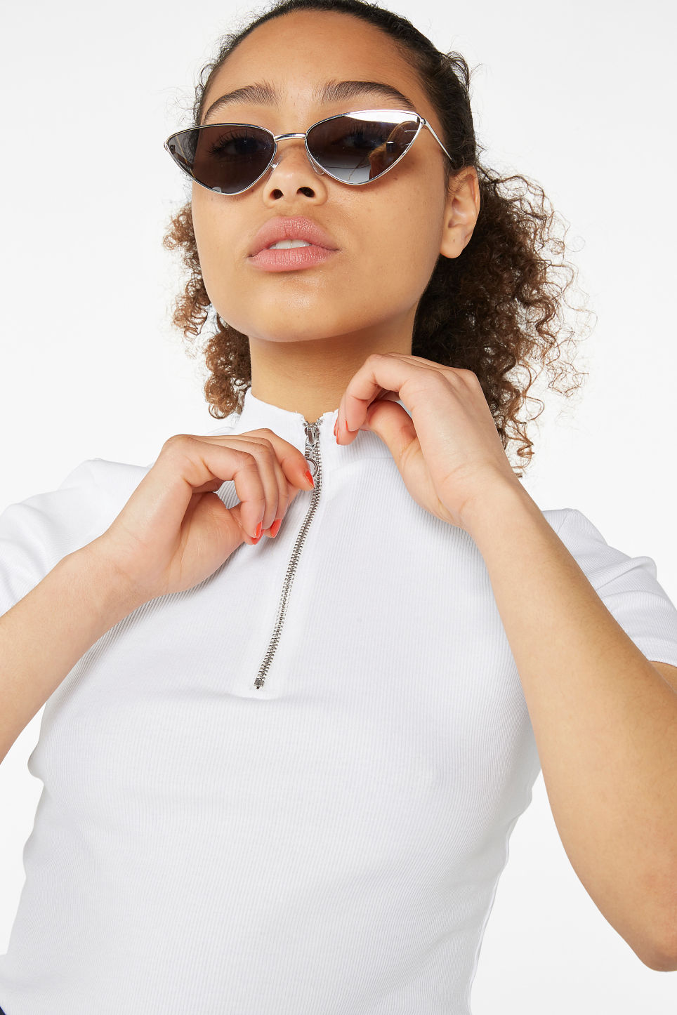 Model front image of Monki ribbed zip top in white