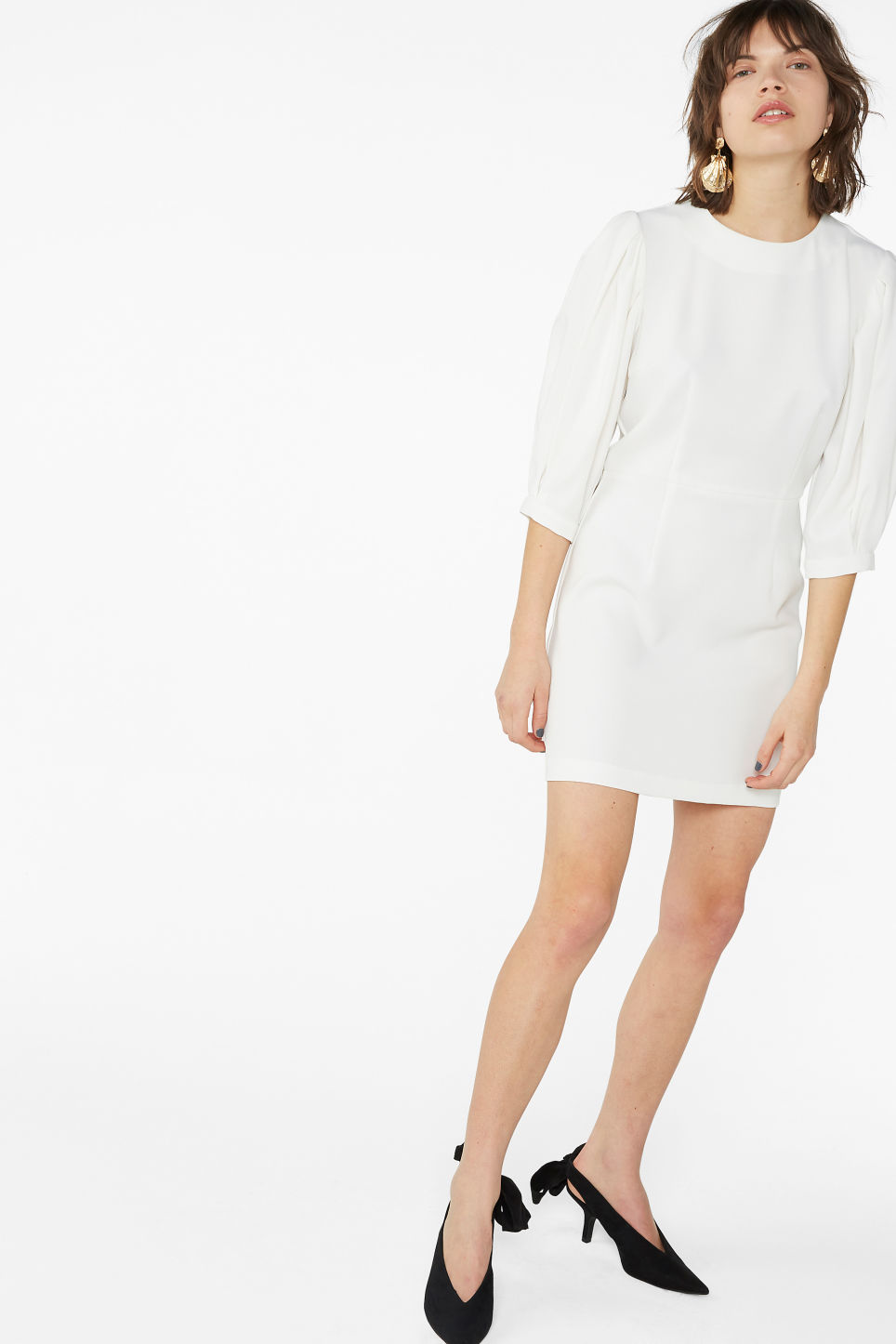 Model front image of Monki fitted mini dress  in white