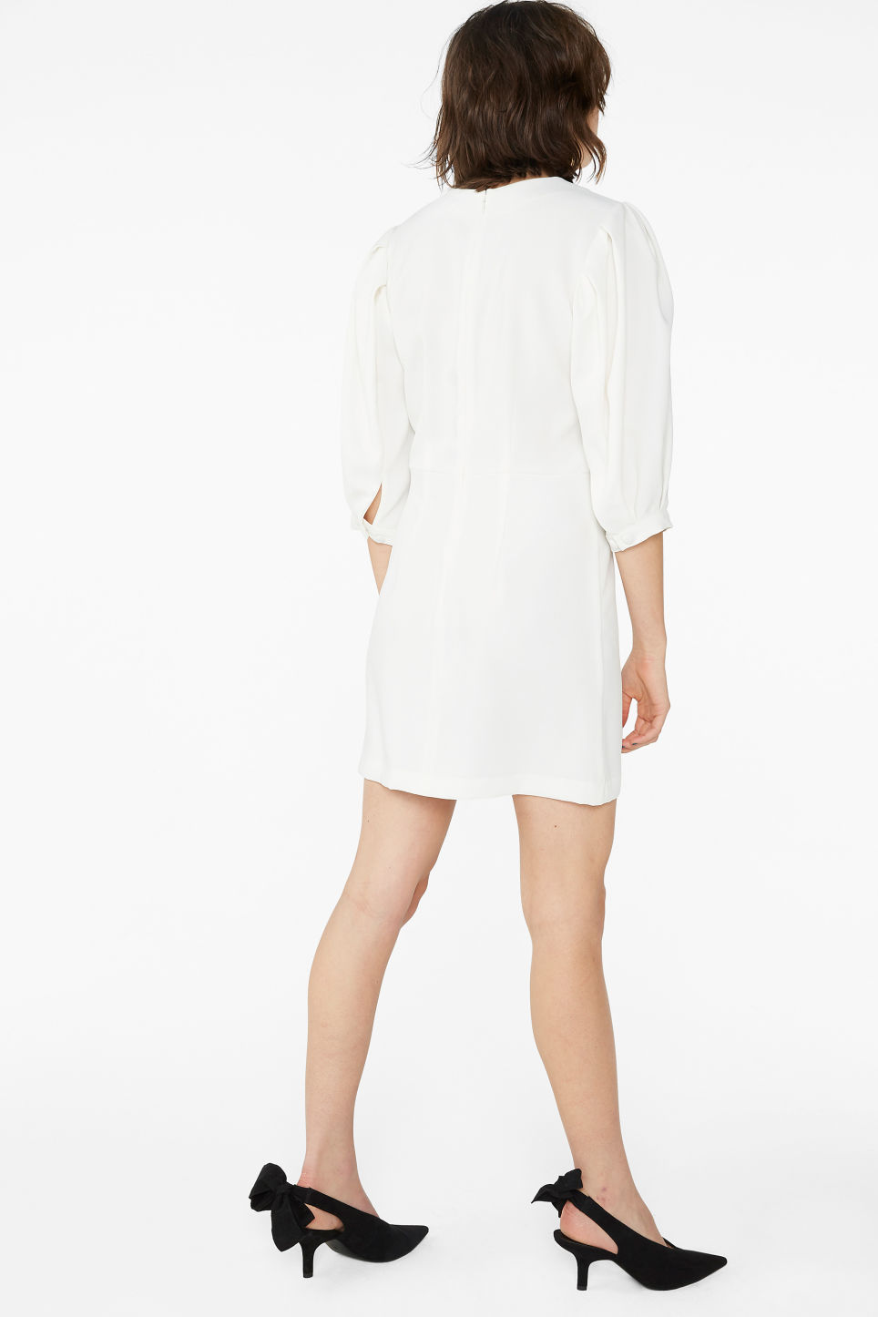 Model back image of Monki fitted mini dress  in white