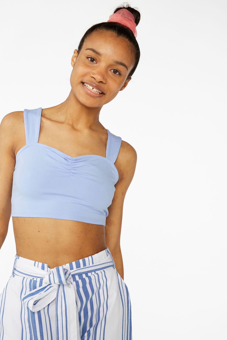 Model front image of Monki tie-back crop top in blue