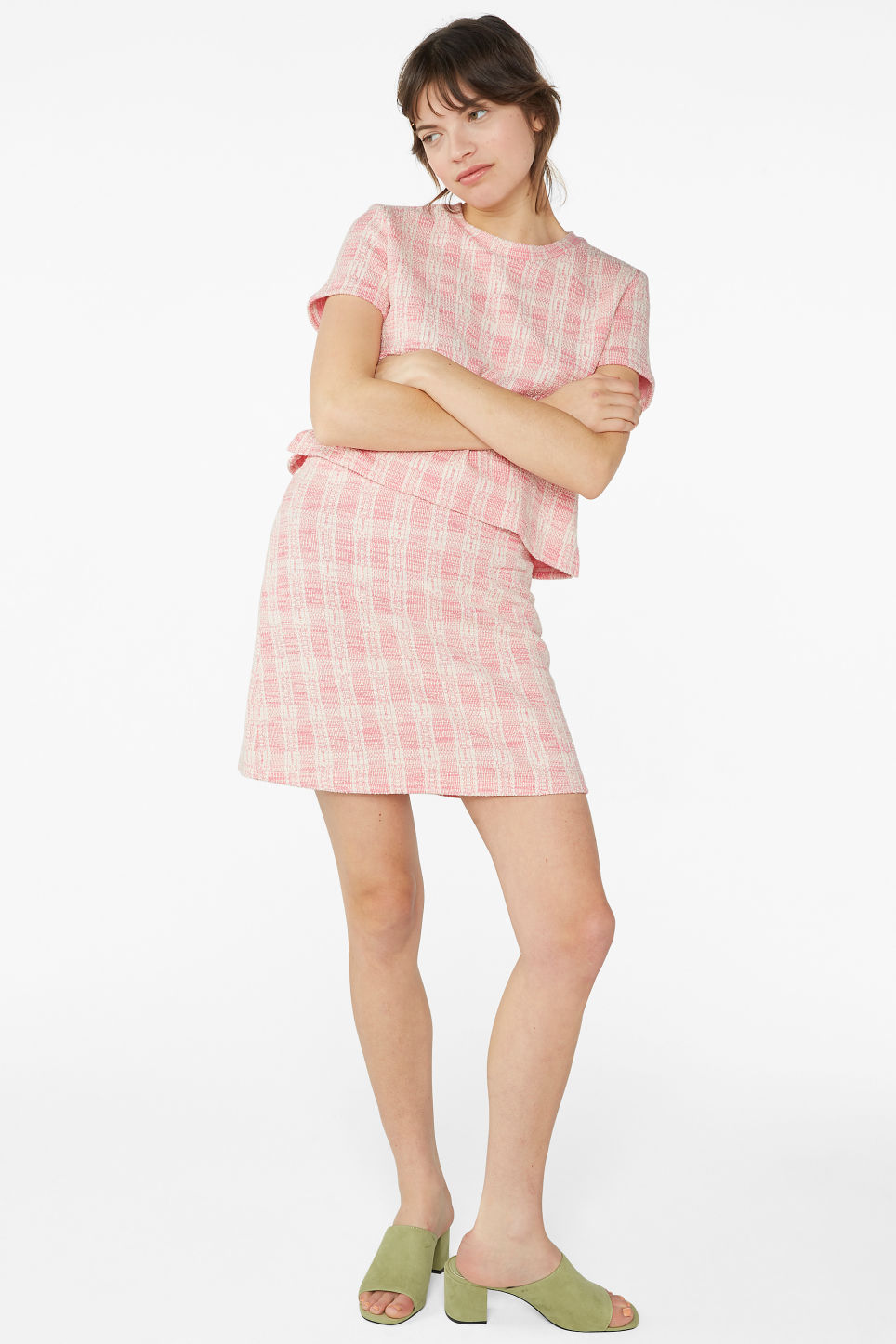 Model front image of Monki boucle mini skirt in pink