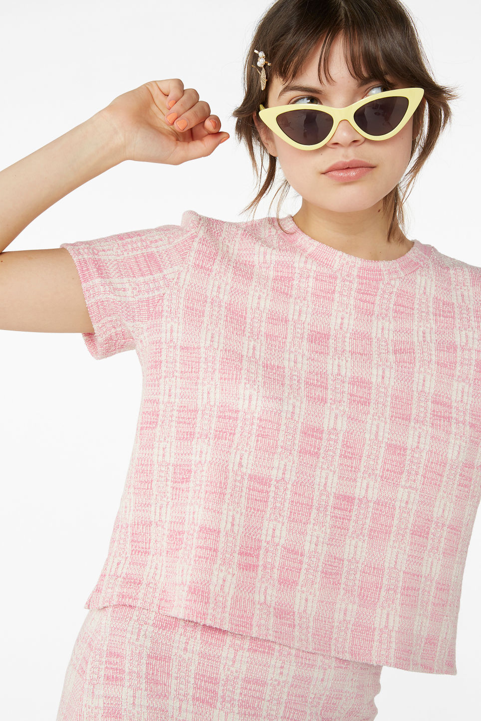 Model front image of Monki boucle tee in pink
