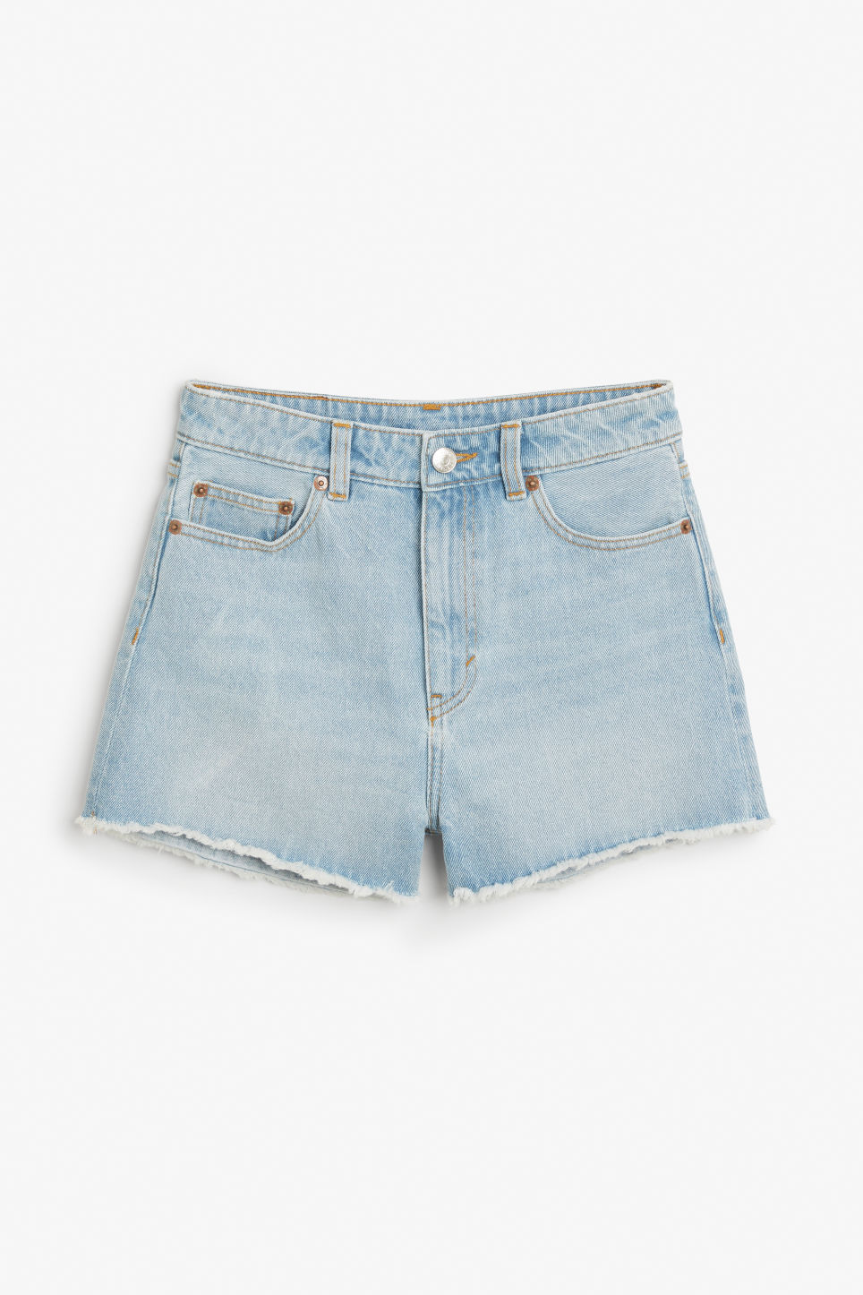 Front image of Monki high waist denim shorts in blue