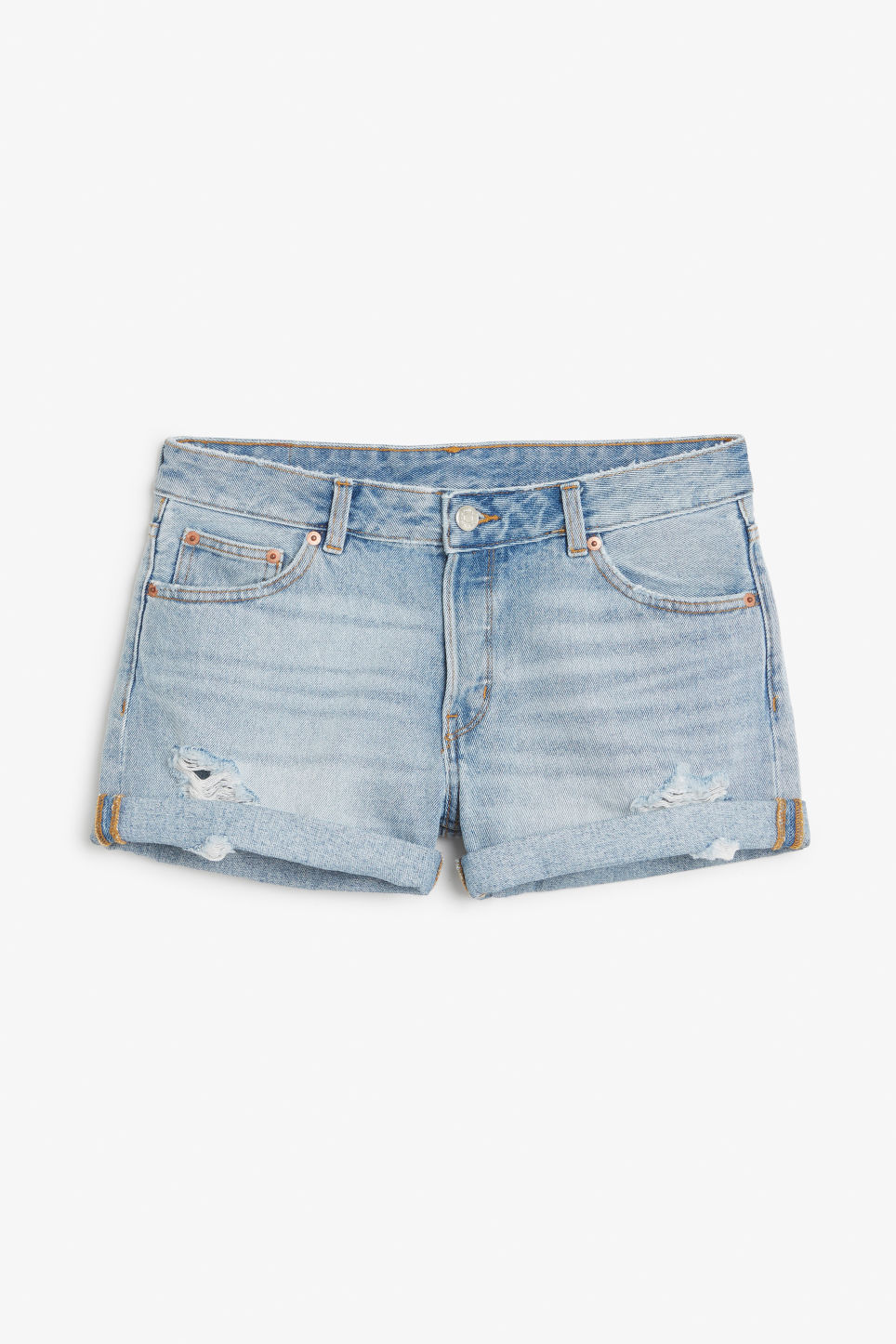 Front image of Monki low waisted denim shorts in blue