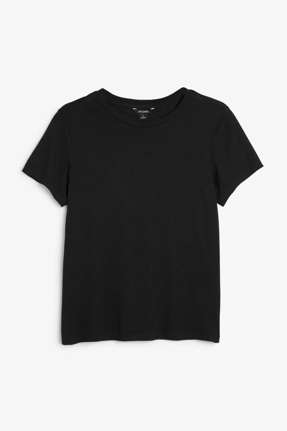 Front image of Monki stretch cotton tee in black